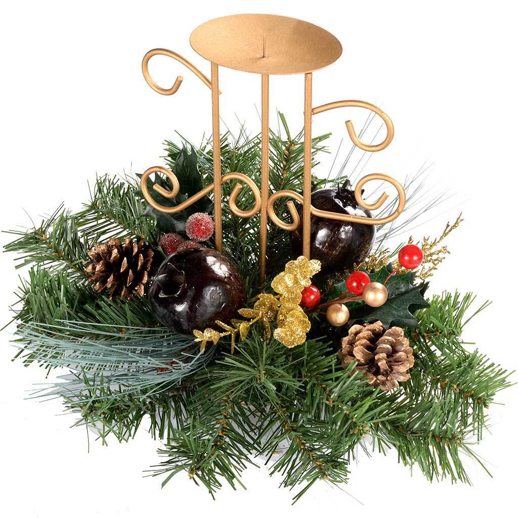 22 cm Berries/ Pine Cones Decorated Table Centre Piece with Single Pillar Candle Holder Christmas Decoration, Red/ Gold