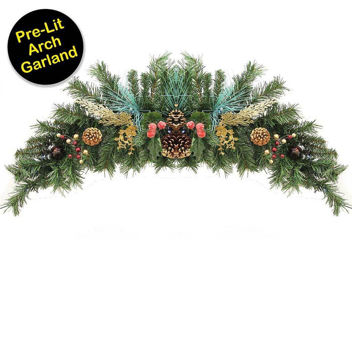 90 Cm Decorated Pre Lit Arch Garland Christmas Decoration Illuminated