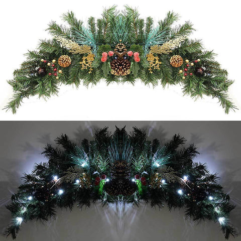 90 cm Decorated Pre-Lit Arch Garland Christmas Decoration Illuminated includes 20 Warm White LED Lights with Pine Cones, Red/ Gold