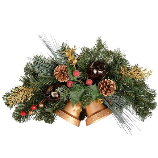 30 cm Berries/ Pine Cone/ Leaves Decorated Twin Bell Wall Christmas Decoration, Red/ Gold