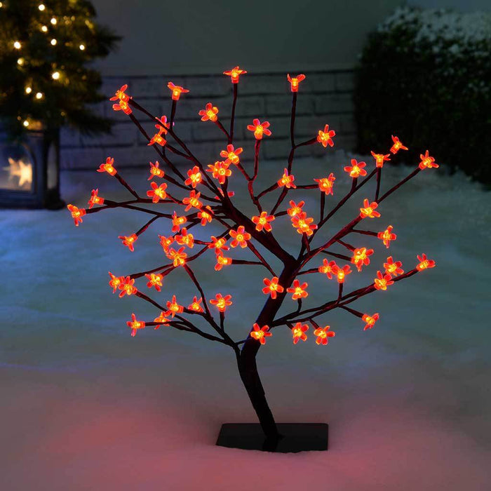 Illuminated Cherry Blossom Tree Christmas Decoration with 64-LED Lights, 1.5 ft/45 cm - Red