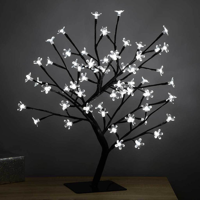 Illuminated Cherry Blossom Tree Christmas Decoration with 64-LED Lights, 1.5 ft/45 cm - White