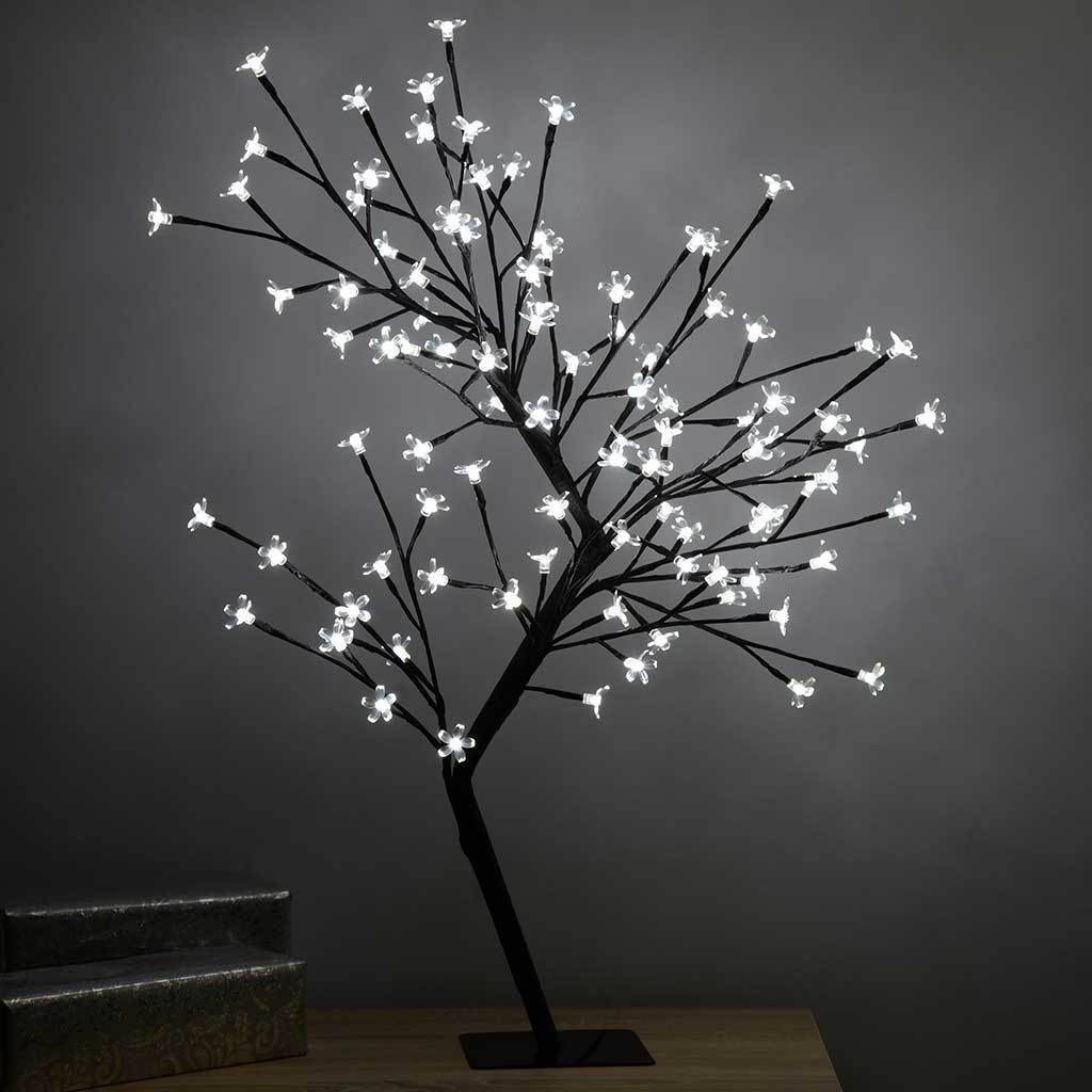 96 LED Lights Illuminated Cherry Blossom Tree Christmas Decoration - 80 cm, White