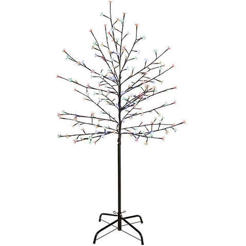 1.5 m/ 5 ft 200 LED Illuminated Cherry Blossom Tree with Brown Trunk and Branches, Multi-Colour