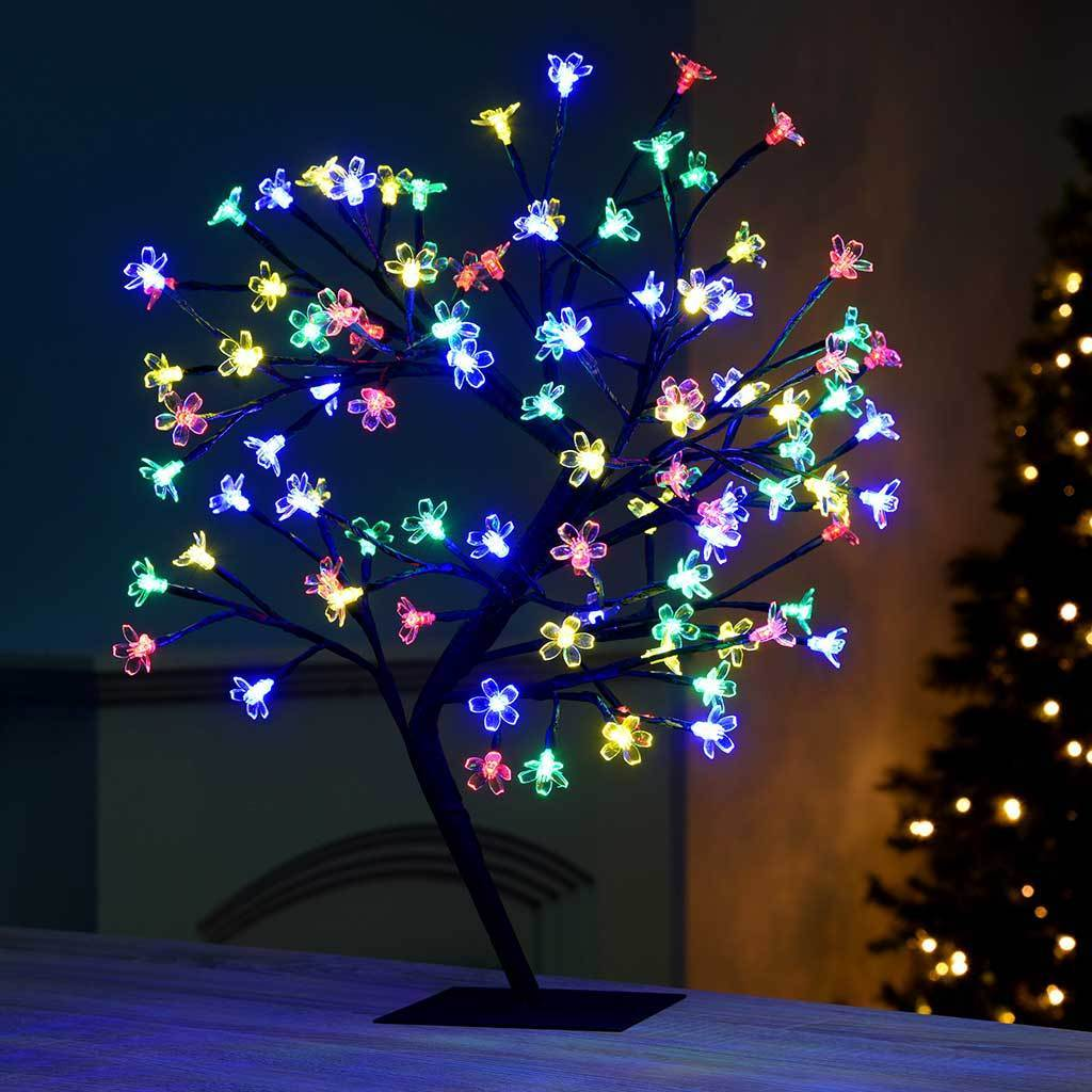 96-LED Illuminated Cherry Blossom Tree with Brown Trunk and Branches, 2 ft/60 cm - Multi-Colour
