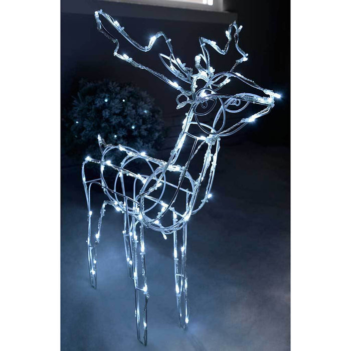 78 cm Large 3D Pre-Lit 90 LED Twinkling Reindeer Christmas Decoration, White