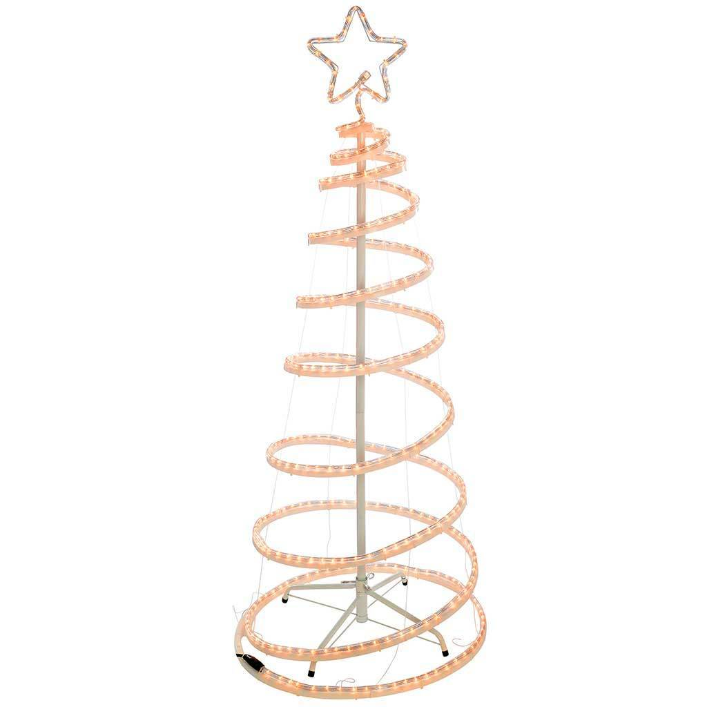 5ft 150 cm Flashing 3D Spiral Christmas Tree Rope Light Silhouette, Warm White