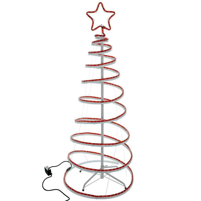 5ft 150 cm Flashing 3D Spiral Christmas Tree Rope Light Silhouette, Red