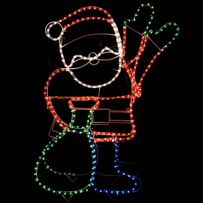 89 cm Large Animated Father Christmas Santa Claus Waving Hand Rope Light Silhouette Decoration