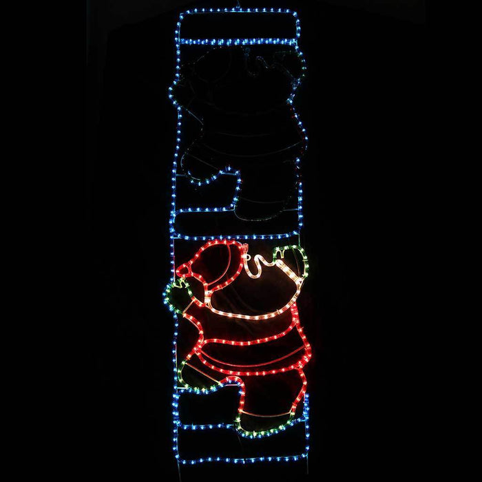 Animated Father Christmas Santa Claus on Ladder Rope Light Silhouette, 170 cm - Large
