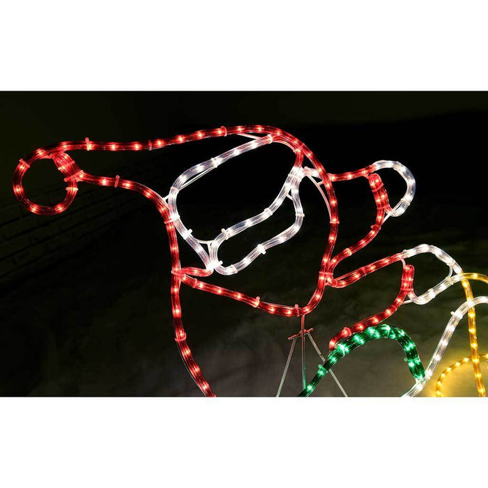 250 cm Large Animated Father Christmas Santa Claus and Sleigh Rope Light Silhouette Decoration