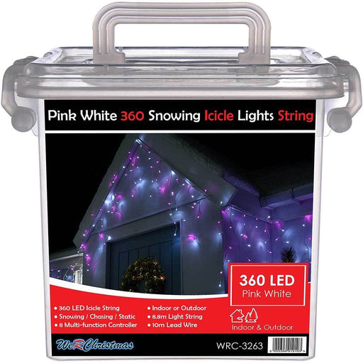 360 Pink and White LED Snowing Icicle Christmas Lights String with Chasing/ Static Settings with 19 m Cable
