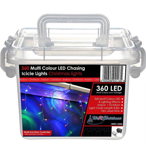 360 Multi Colour LED Snowing Icicle Christmas Lights String with Chasing/ Static Settings with 19 m Cable