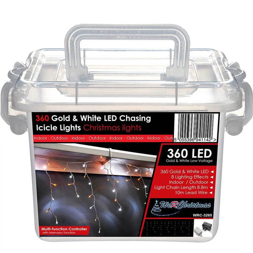 360 LED Snowing Icicle Lights String , Chasing Static Settings, 19 m Cable, Gold/ White