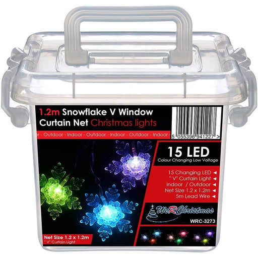Snowflake V Window Curtain Net Lights, 15 Colour Changing LED, 1.2 x 1.2 m