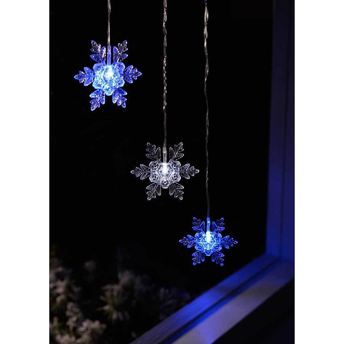 Snowflake V Window Curtain Net Lights with 15 Static LED, 1.2 x 1.2 m - Blue/White