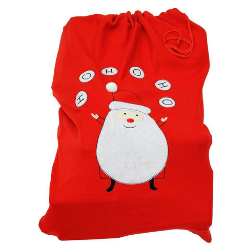 100 cm Large Christmas Gift Present Bag Santa Sack with Santa HO HO HO Design, Red