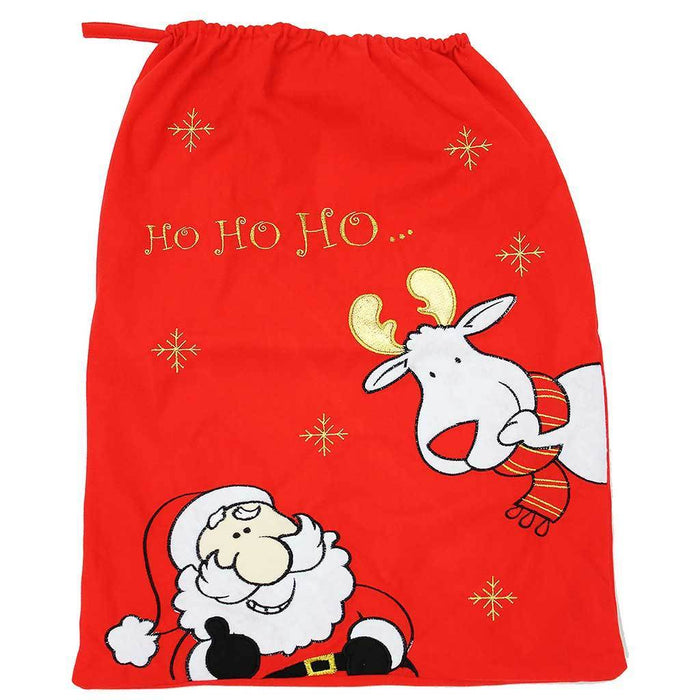 57 cm Christmas Gift Present Bag Santa Sack with Santa and Reindeer Design, Red