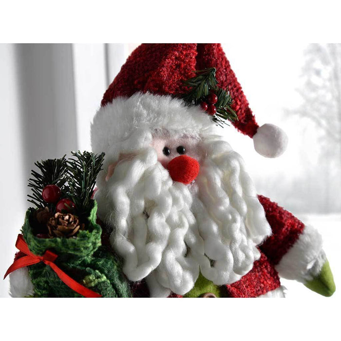 30 cm Free Standing Christmas Santa Decoration in Red and Green
