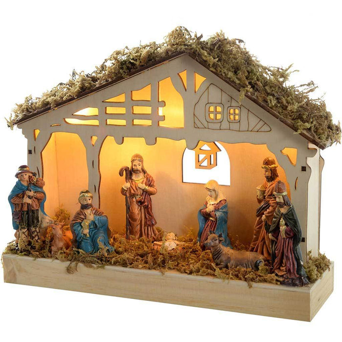 26 cm Pre-Lit Christmas Wooden Nativity Scene Decoration Illuminated with 5 Warm White LED