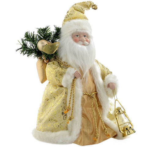 Father Christmas Tree Top Topper Decoration, 30 cm - Cream/Gold