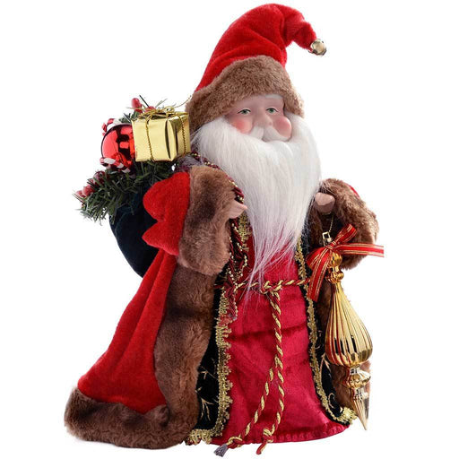 Father Christmas Tree Top Topper Decoration, 30 cm - Red/Gold