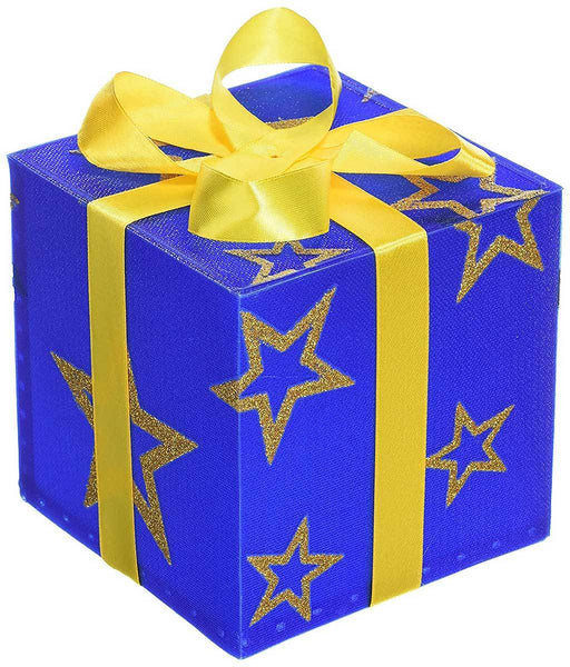 Pre-Lit 12 cm Gift Box with Star and Gold Ribbon Colour Changing LED, Blue