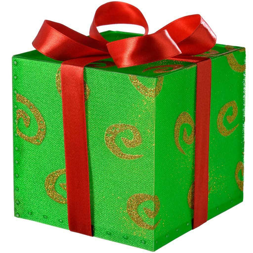 Pre-Lit Gift Box with Swirl and Red Ribbon Colour Changing LED, 12 cm - Green