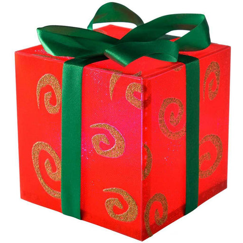 Pre-Lit 12 cm Gift Box with Swirl and Green Ribbon Colour Changing LED, Red