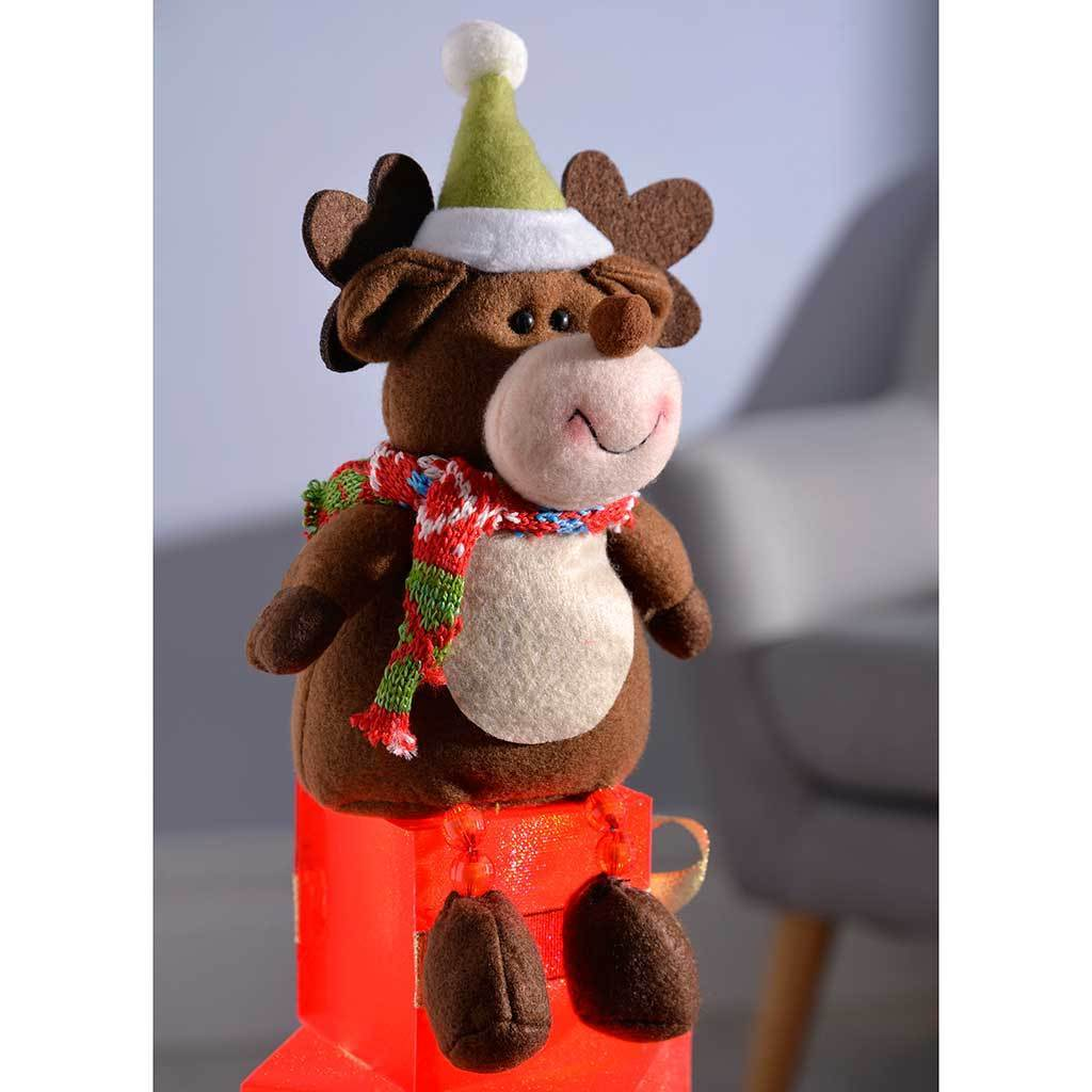 50 cm Reindeer Pre-Lit Gift Box Tower Colour Changing LED Christmas Decoration