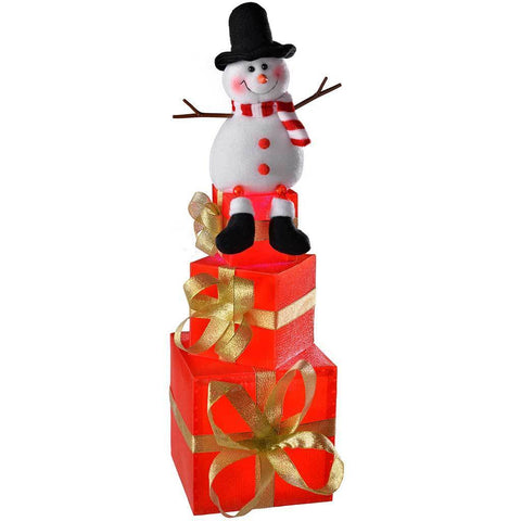 50 cm Snowman Pre-Lit Gift Box Tower Colour Changing LED Christmas Tree Decoration