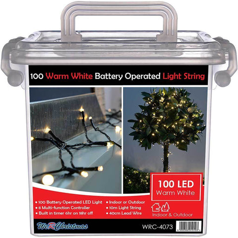 Outdoor Battery Operated 100 Multi-Function LED Lights with Timer, 10 m - Warm White