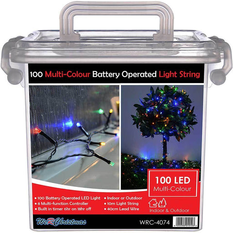 Outdoor Battery Operated 100 Multi-Function LED Lights with Timer, 10 m - Multi-Colour