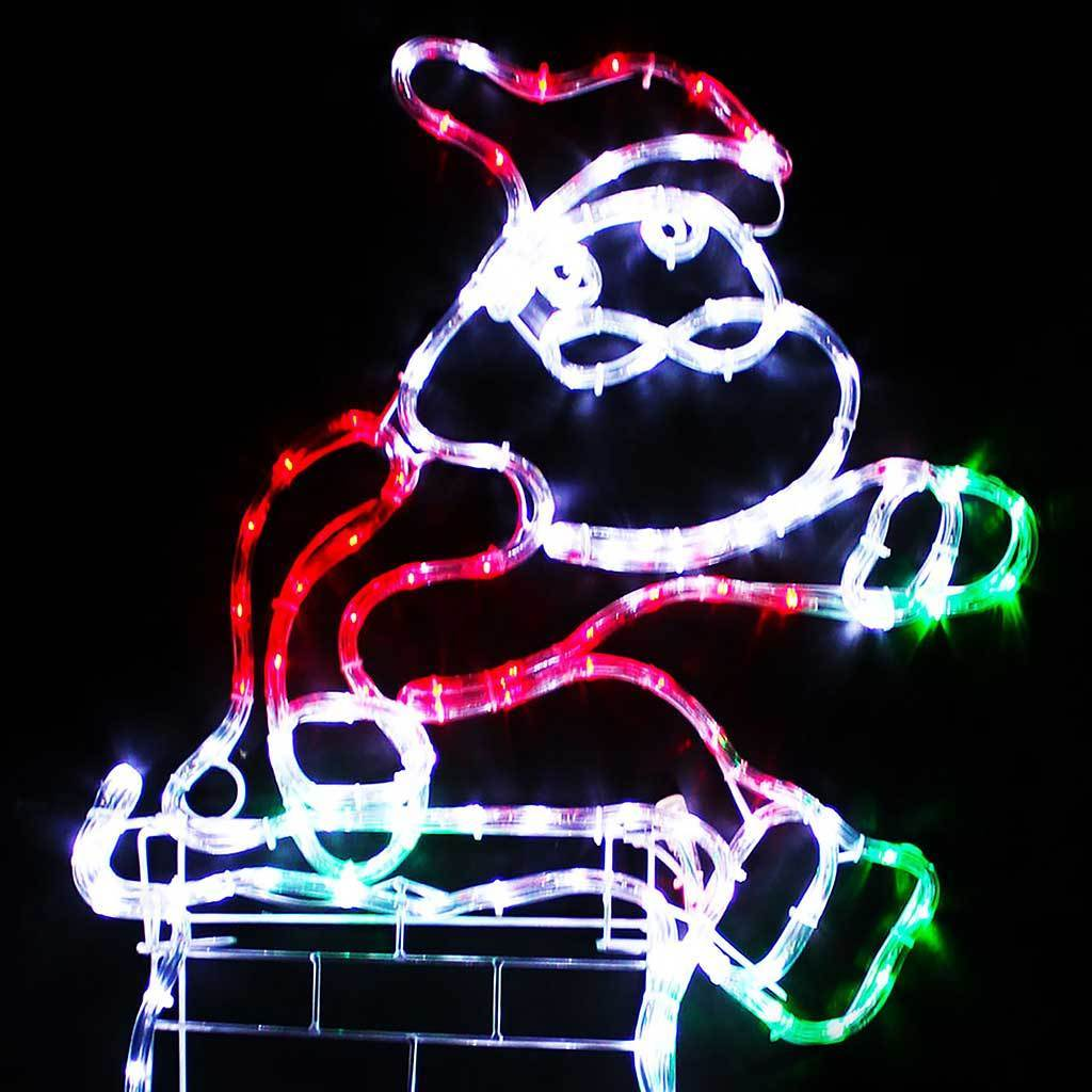 Large Animated Chimney Santa Rope Light Silhouette