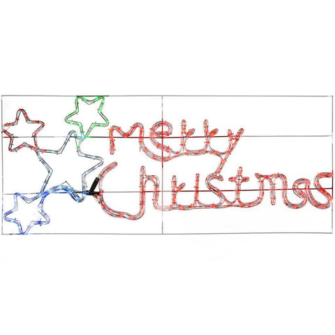 124 cm Large Animated Merry Christmas Sign with Flashing Stars Rope Light Silhouette Christmas Decoration