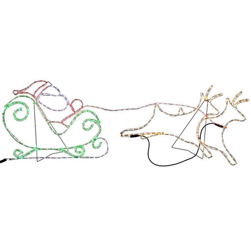 2 Reindeer Santa Rope Lights Silhouette Outdoor Garden Christmas Decoration 1.7m