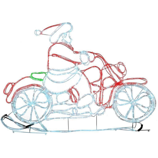 120 cm Rope Light Animated Santa Riding Motorbike