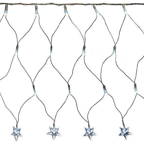 8 m x 40 cm LED Star Curtain Net Christmas Light String with Chasing/ Static Settings, White