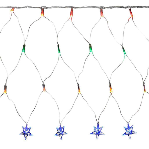 8 m x 40 cm LED Star Curtain Net Christmas Light String with Chasing/ Static Settings, Multi- Colour | WeRChristmas