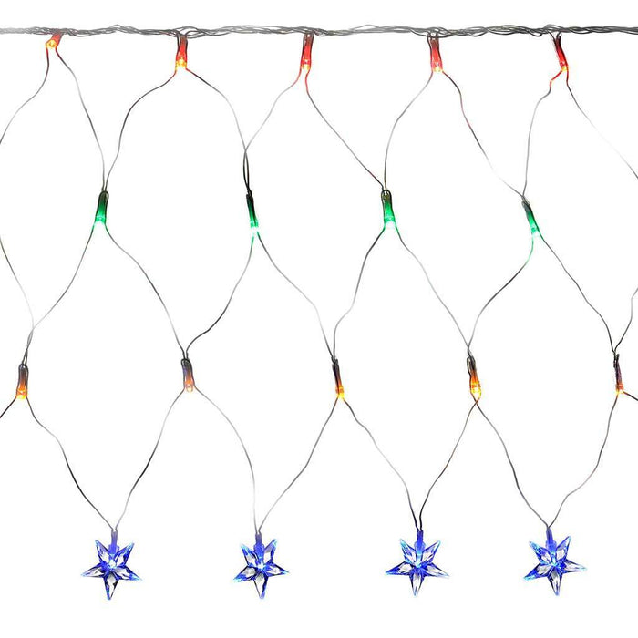 8 m x 40 cm LED Star Curtain Net Christmas Light String with Chasing/ Static Settings, Multi- Colour