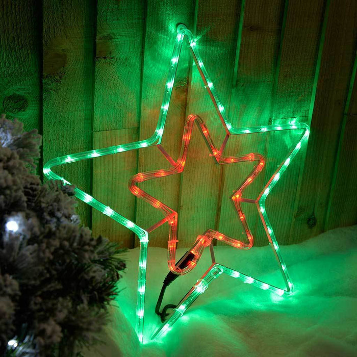52 cm Pre-Lit LED Animated Flashing Star Rope Light Silhouette, Multicolour