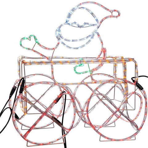 LED Animated Connectable Santa in Train Carriage 3D Rope Light Silhouette, 74 cm