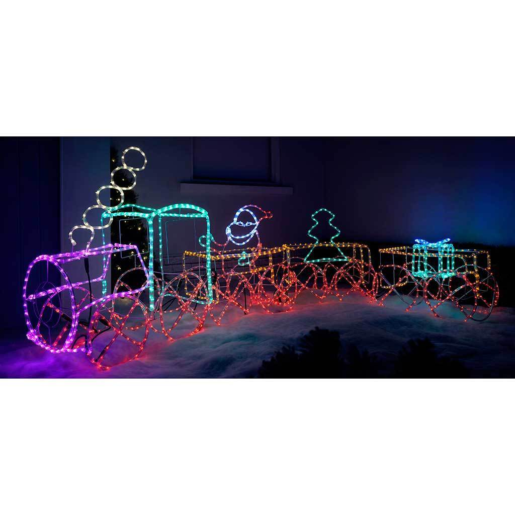 LED Animated Connectable Present in Train Carriage 3D Rope Light Silhouette, 71 cm