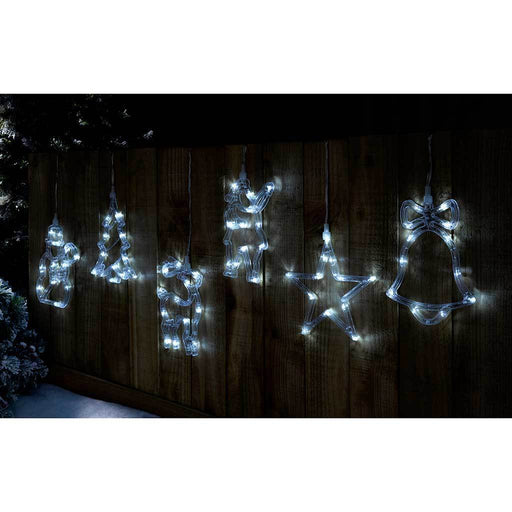 Pre-Lit LED Christmas Characters Silhouette Light String - White