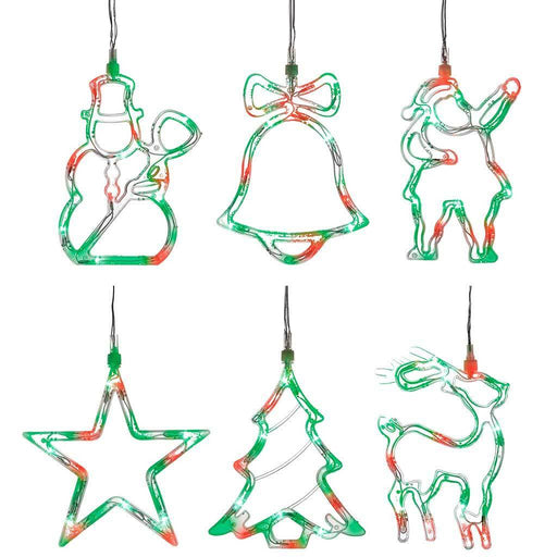 Pre-Lit LED Christmas Characters Silhouette Light String - Red green
