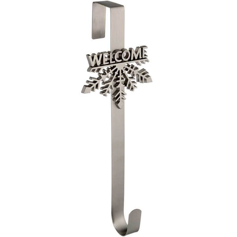 Welcome Snowflake Wreath Door Hanger Christmas Decoration, 37.5 cm - Antique Silver