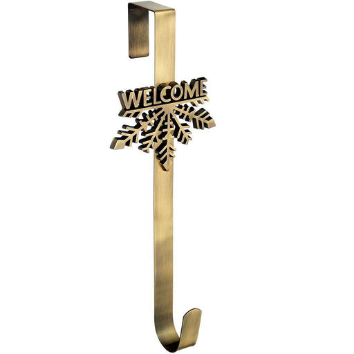 Welcome Snowflake Wreath Door Hanger Christmas Decoration, 37.5 cm - Antique Gold
