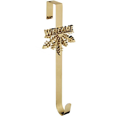 Welcome Snowflake Wreath Door Hook Christmas Decoration, 37.5 cm - Gold