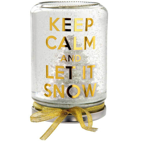 Keep Calm and Let It Snow Snow Globe Christmas Decoration, 13 cm - Gold