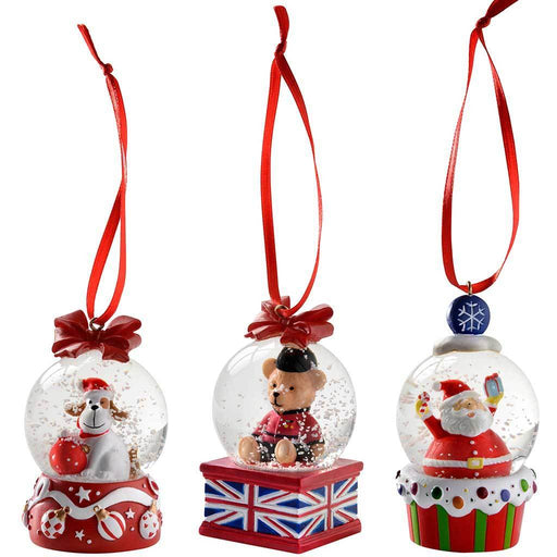 Dog Santa Bear Mini Snow Globe Christmas Ornaments 4 cm - Multi-Colour, Set of 3